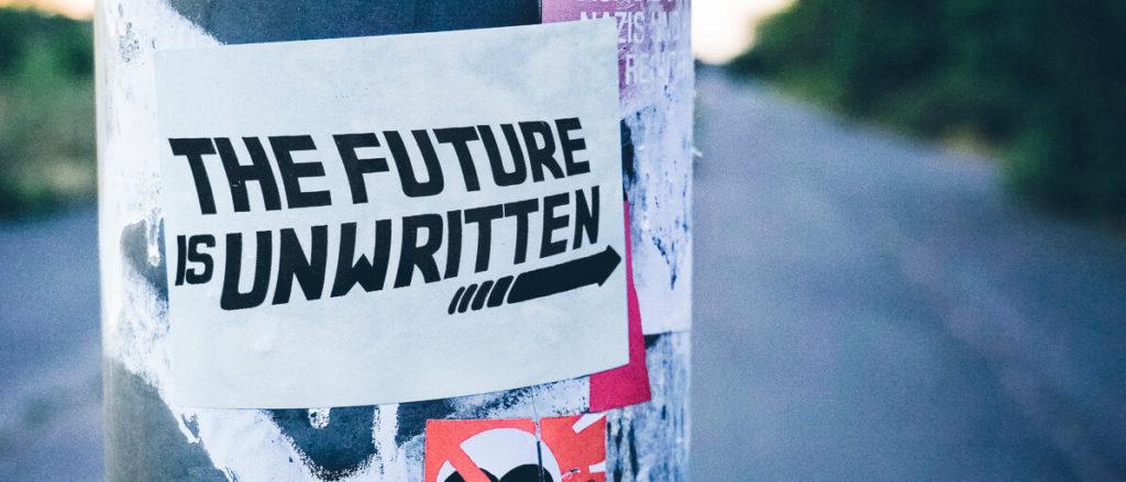 The Future is UNwritten Aufkleber auf einer Stange